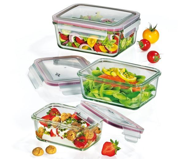 Lunchbox/Vorratsdosen-Set Glas rechteckig, 3-tlg.