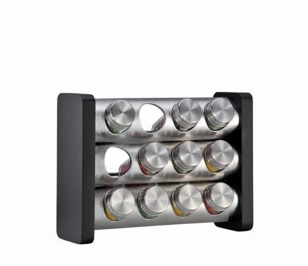 Gewürzständer mit 12 Gläsern schwarz, rechteckig